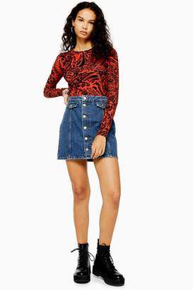 Topshop Womens Blue Denim Button Down Mini Skirt - Mid Stone