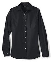 Lands' End Women's Regular Long Sleeve No Iron Broadcloth Shirt-Black