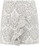 Maje Jugeote ruffled cotton-blend jacquard mini skirt