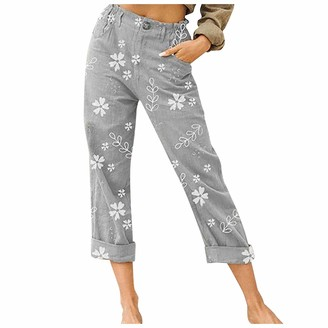 Muyise Women High Wasit Floral Print Elastic Waist Loose Pajamas Wide Leg Casual Yoga Running Plus Size Cropped Pants with Pockets S-3XL Gray