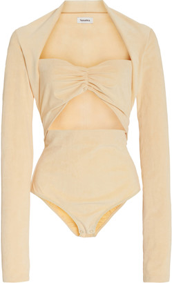 Nanushka Heidi Cutout Stretch-Velvet Bodysuit