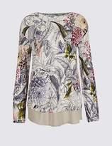 Marks and Spencer Embellished Front Floral Long Sleeve T-Shirt