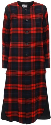 Noir Kei Ninomiya Wool Tartan Check Long Coat