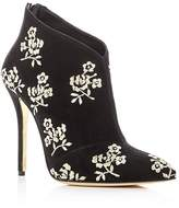 Oscar de la Renta Women's Elkin Embroidered Suede High Heel Booties