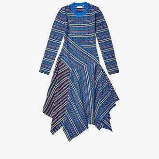 Opening Ceremony Long Sleeve Rib-Knit Midi Dress (French Blue Multi) Women's Clothing