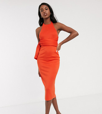 Asos DESIGN Tall racer front tie back pencil midi dress in fiery red
