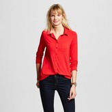 Merona Women's Button Down Top Red Pop
