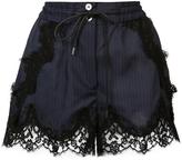 Sacai Pinstripe Lace Shorts