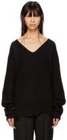 Helmut Lang Black Distressed V-neck Sweater