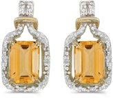 Direct-Jewelry 14k Gold Emerald-cut Citrine And Diamond Earrings