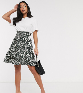Y.A.S Petite skater skirt with ruched waist in black floral
