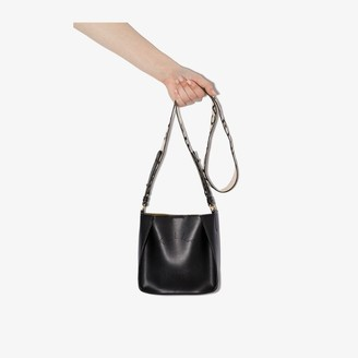 Stella McCartney black woven logo strap shoulder bag