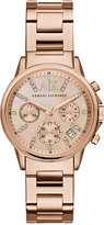 |A|X Armani Exchange Women's Chronograph Rose Gold-Tone Stainless Steel Bracelet Watch 36mm AX4326