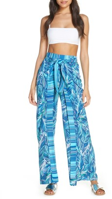La Blanca Sketched Leaves Side Slit Cover-Up Pants