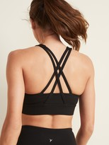 Old Navy Medium Support Rib-Knit Strappy Long-Line Sports Bra for Women