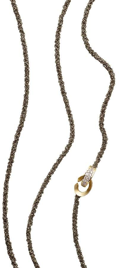 "Antonini 18K Yellow Gold Matera Chain and Cognac Diamond Necklace, 42"""