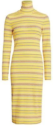 STAUD Liza Striped Midi Dress