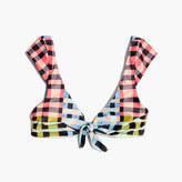 Madewell Mara Hoffman® Cap-Sleeve Tie-Front Bikini Top in Plaid Mustard