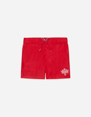 Dolce & Gabbana Nylon Swimming Trunks With Logo Print
