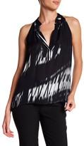 Nicole Miller Sleeveless Printed Silk Blouse