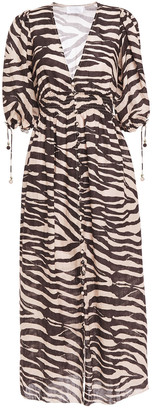 Zimmermann Shirred Zebra-print Linen-gauze Midi Dress
