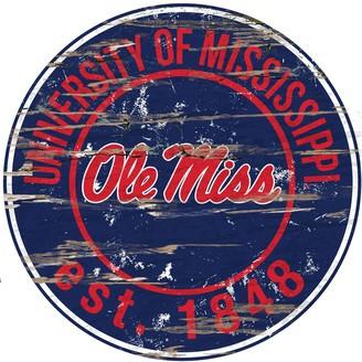 "Ole Miss Rebels Distressed 24"" x 24"" Round Wall Art"