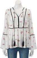 Lauren Conrad Women's Floral Velvet Trim Peasant Top