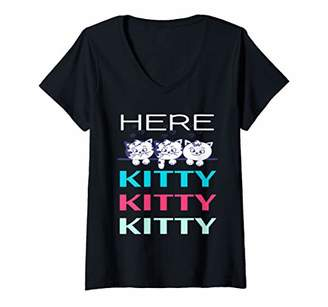 Womens Here Kitty Kitty Kitty Funny Cat Gifts For Cat Lovers V-Neck T-Shirt