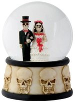 Summit 3.5 Inch Cold Cast Resin Day of the Dead Wedding Couple Water Globe