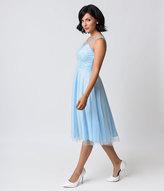 Unique Vintage 1950s Pale Blue Swiss Dot High Society Swing Dress