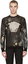 Versace Black Jacquard Domino Pullover