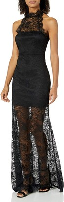 Ali & Jay Women's Palm Fronds Lace Halter Illusion Gown