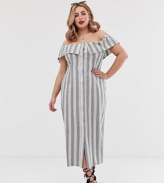Koko stripe bardot dress
