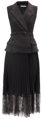 Self-Portrait Pleated Crepe Blazer Dress - Black