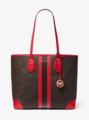MICHAEL Michael Kors MK Eva Large Logo Stripe Tote Bag - Vanilla/soft Pink - Michael Kors