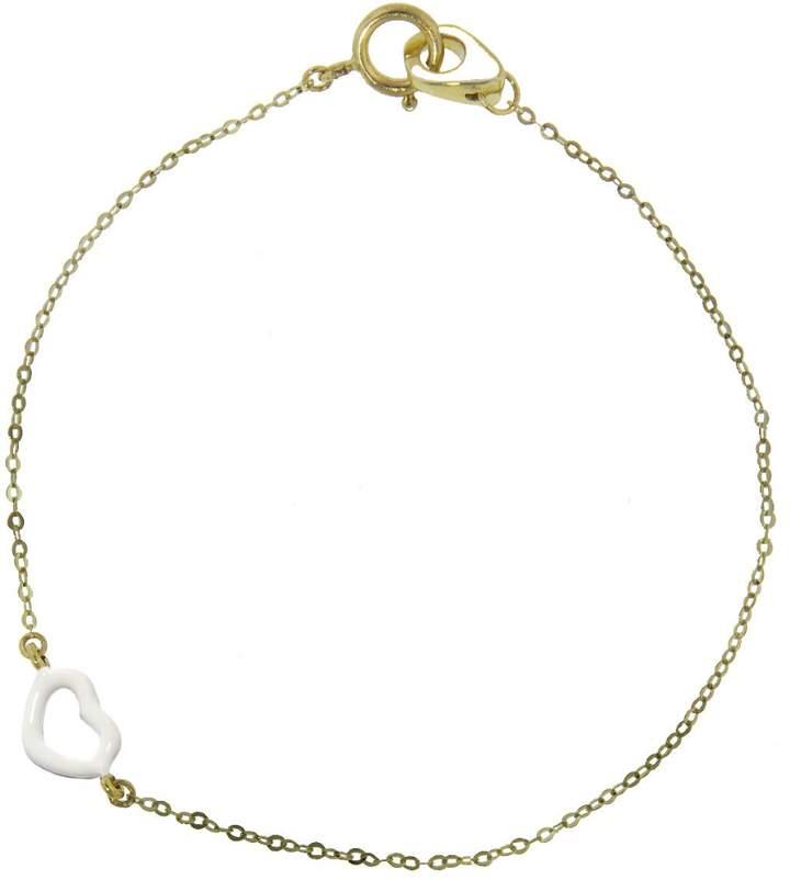 Jordan Askill White Enamel Heart Bracelet