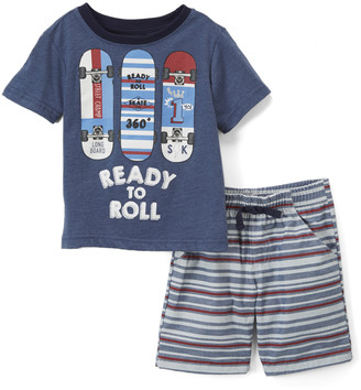 Nannette Kids Boys' Casual Shorts NAVY - Navy 'Ready to Roll' Tee & Shorts- Toddler & Boys - Infant