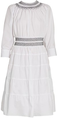 Prada Smocked Cotton Poplin Midi Dress