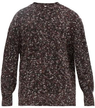 Raey Crew-neck Tweed-effect Wool-blend Sweater - Burgundy