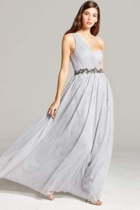 Little Mistress Grey One Shoulder Embellished Maxi Dress