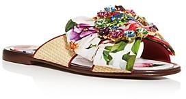 Dolce & Gabbana Women's Bianca Abaya Crystal Embellished Slide Sandals