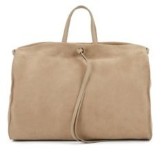 HUGO BOSS Tote Bag In Italian Suede With Leather Trims - Brown