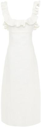 Zimmermann Cutout Ruffled Linen Midi Dress