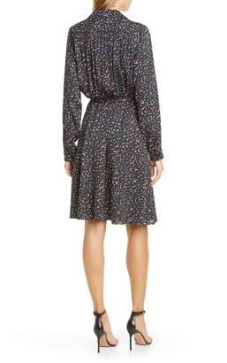 Diane von Furstenberg Dory Polka Dot Long Sleeve Stretch Silk Shirtdress