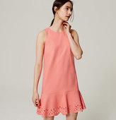 LOFT Petite Laser Cut Floral Flounce Dress