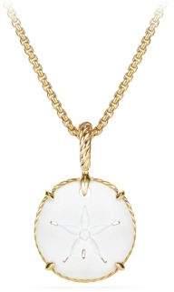 David Yurman Talisman 18K Yellow Gold White Agate Amulet