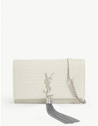 Saint Laurent Kate tassel crocodile-embossed leather wallet-on-chain