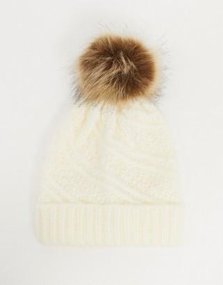 Boardmans caroline textured knitted hat with pom pom in winter white