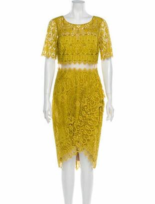 Marchesa Notte Lace Pattern Midi Length Dress w/ Tags Yellow