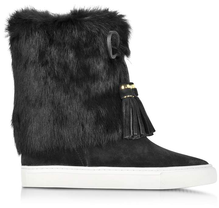Tory Burch Anjelica Black Suede and Rabbit Fur Boots